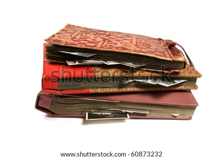 three old photo albums isolated on white background - stock photo