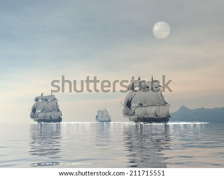 Three old ships floating on the ocean with seagull by sunset with full moon - 3D render - stock photo