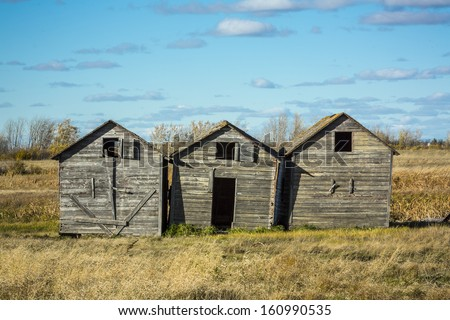 Three old weathered wooden grain bins. - stock photo