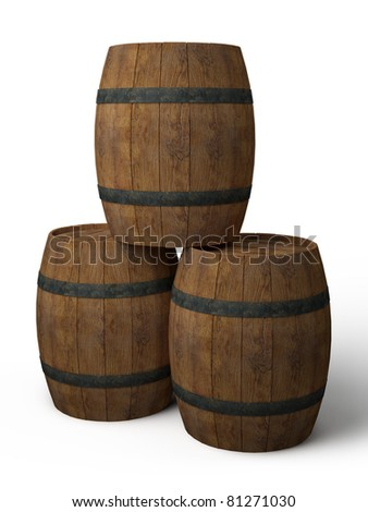 three old wooden barrels - 3d illustration isolated on white - stock photo