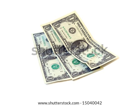 Three one-dollar banknotes - stock photo
