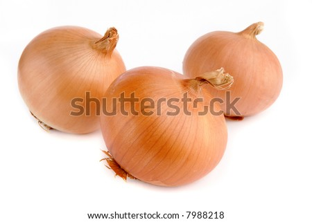 three onions on white background - stock photo
