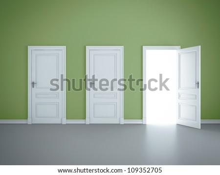 three open doors in green room - stock photo