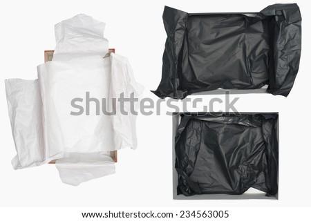 three open shoe box isolated on white - stock photo