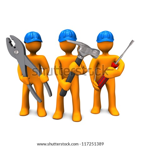 Three orange cartoon characters with blue helmets and tools in the hands. White background. - stock photo
