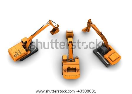 Three orange dirty diggers isolated on white background - stock photo