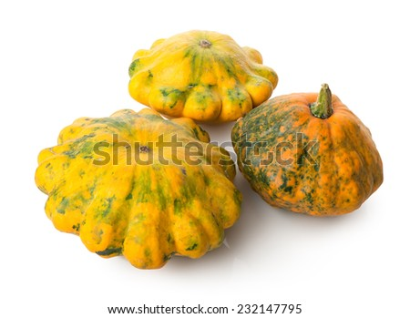 Three orange gourds isolated on a white background - stock photo