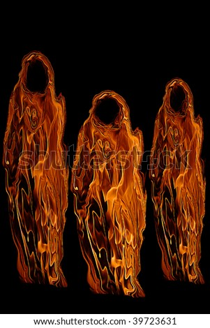 Three Orange Halloween Ghosts or Ghouls isolated on a black background. - stock photo