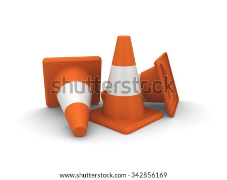 Three orange road cones. 3d render isolated on white background