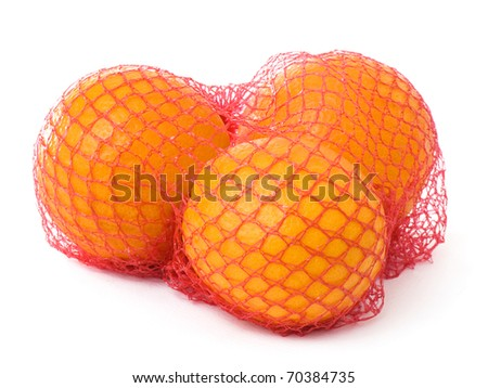 Three oranges for juice in a red net, isolated on white background