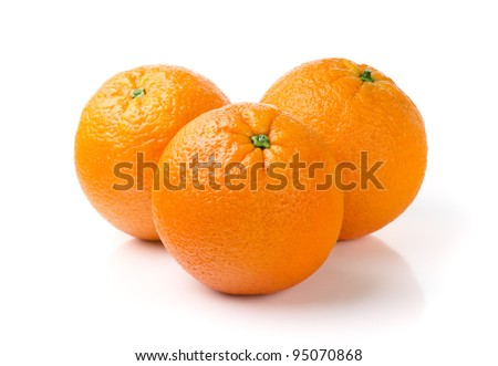 Three Oranges Isolated on White Background - stock photo