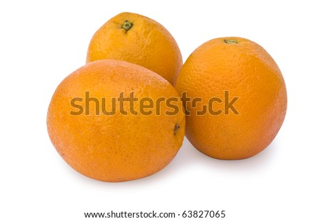 three oranges on white background - stock photo