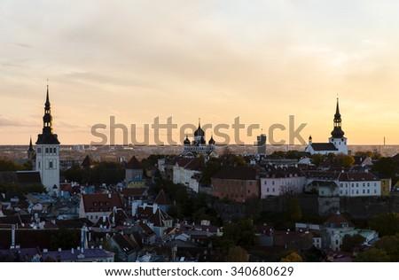 Three orthodox churches in the old town of Tallinn, Estonia - stock photo