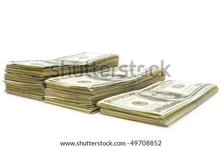Three pack of dollars isolated  on white background - stock photo