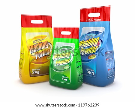 Three pack of washing powder on white background. 3d - stock photo
