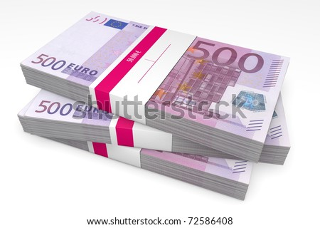 three packet of 500 Euro notes with bank wrapper - 50.000 Euros each - stock photo