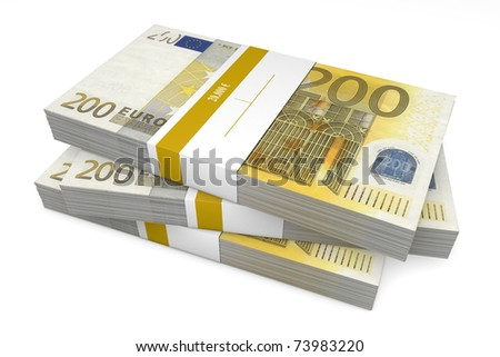 three packet of 200 Euro notes with bank wrapper - 20.000 Euros each - stock photo