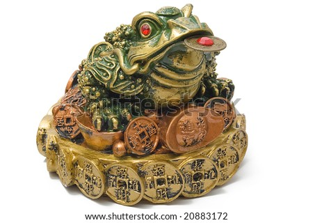 Three-pad frog with a coin, isolated on white - stock photo