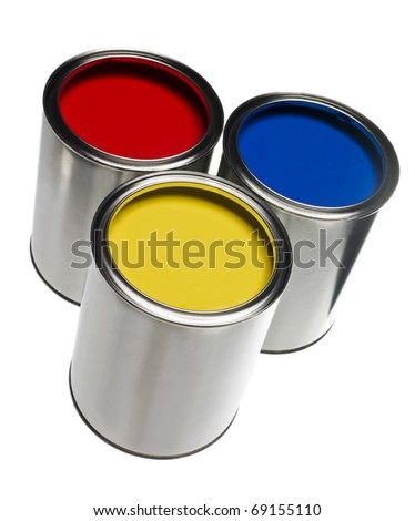 Three Paint cans isolated on white background