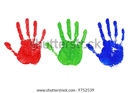 Three painted hand prints in Red, Green and Blue, colour coded to 255 for each individual colour.