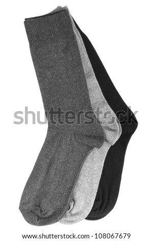 Three pair of socks isolated on a white background - stock photo