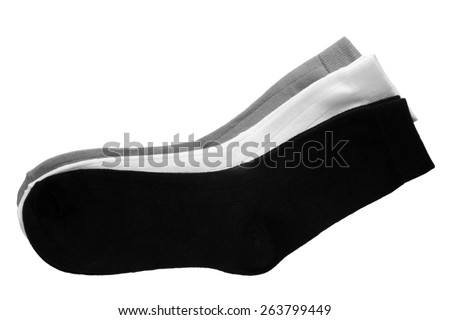 Three pair of socks isolated on white background - stock photo