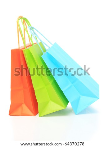 Three paper bags, isolated on white - stock photo