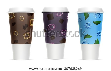 Three paper cups for beverages