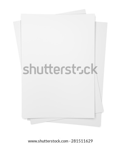 Three paper sheets isolated on white background