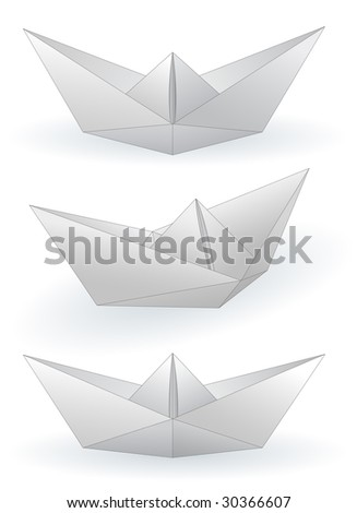 Three paper ships isolated on white - raster image. Vector format in EPS is also available in my gallery. - stock photo