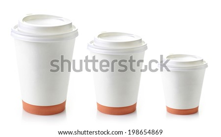 three paper take away coffee cups on a white background