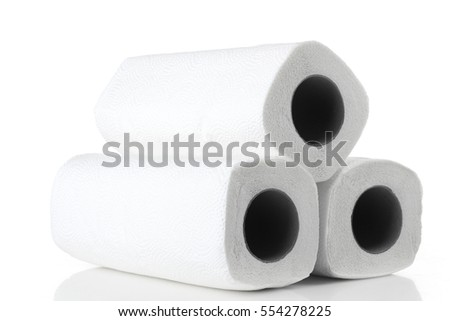 Three paper towel isolated on white background.