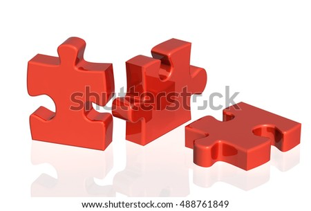Three parts of a puzzle of red color. Objects on glossy white background. 3d render