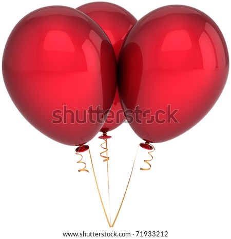 Three party balloons red Happy birthday 3 anniversary decoration blank. Celebrate holiday retirement graduation jubilee greeting card concept. Detailed 3d render. Isolated on white background - stock photo