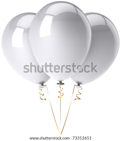 Three party balloons white shiny beautiful. Happy Birthday celebrate anniversary graduation retirement decoration classic. Happiness joy fun concept. Detailed 3d render. Isolated on white background - stock photo