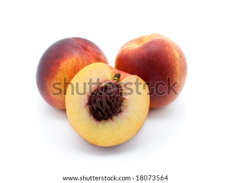 three peaches  on white background