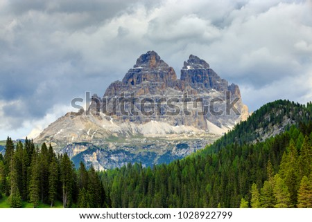 Three Peaks of Lavaredo (Tre Cime di Lavaredo) mountain view from lake misurina (lago di Misurina), Province of Belluno, Veneto, Italy.