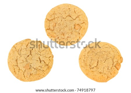 Three Peanut Butter Cookies Isolated on a White Background - stock photo