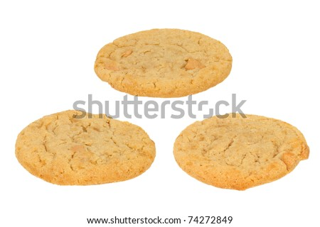 Three Peanut Butter Cookies on a White Background