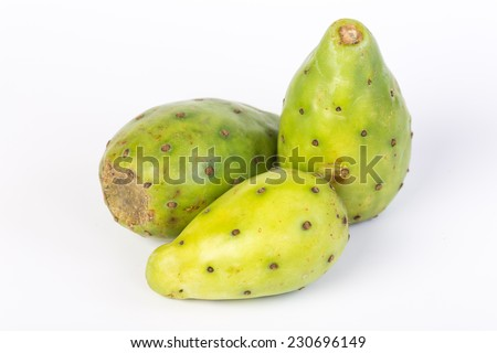 Three Pears from prickly pear cactus on white background. - stock photo