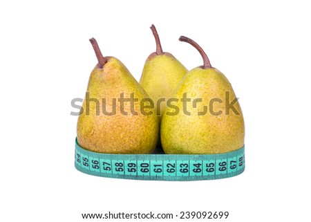 Three pears with drops and meter on a white background