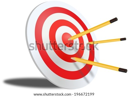 Three pencils jabbed in red dartboard - stock photo