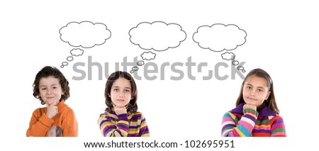 Three pensive children isolated on white background - stock photo