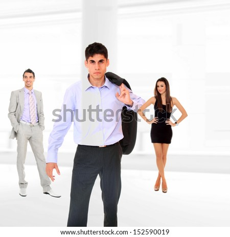 three people Business team at the office building - stock photo