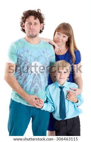 Three people family with father, mother and son, isolated on white background - stock photo