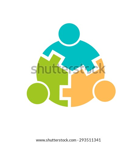 Three People logo connected - stock photo