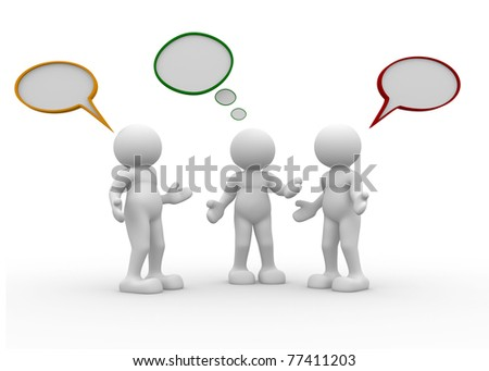 Three people talking - This is a 3d render illustration - stock photo