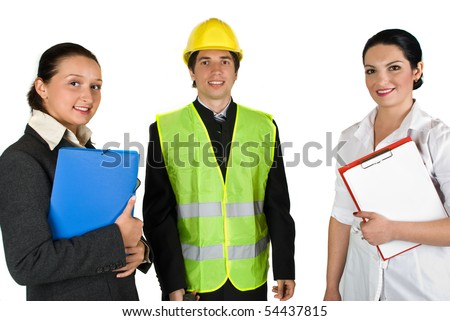 Three people with different careers - stock photo