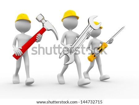 Three people with the tools in the hands