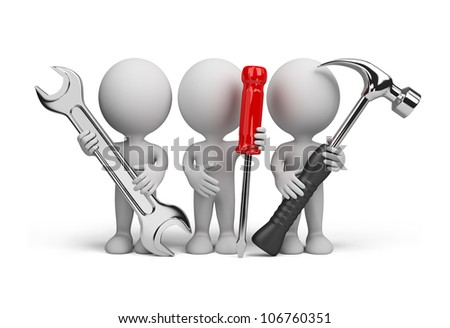 Three people with the tools in the hands of. 3d image. Isolated white background. - stock photo